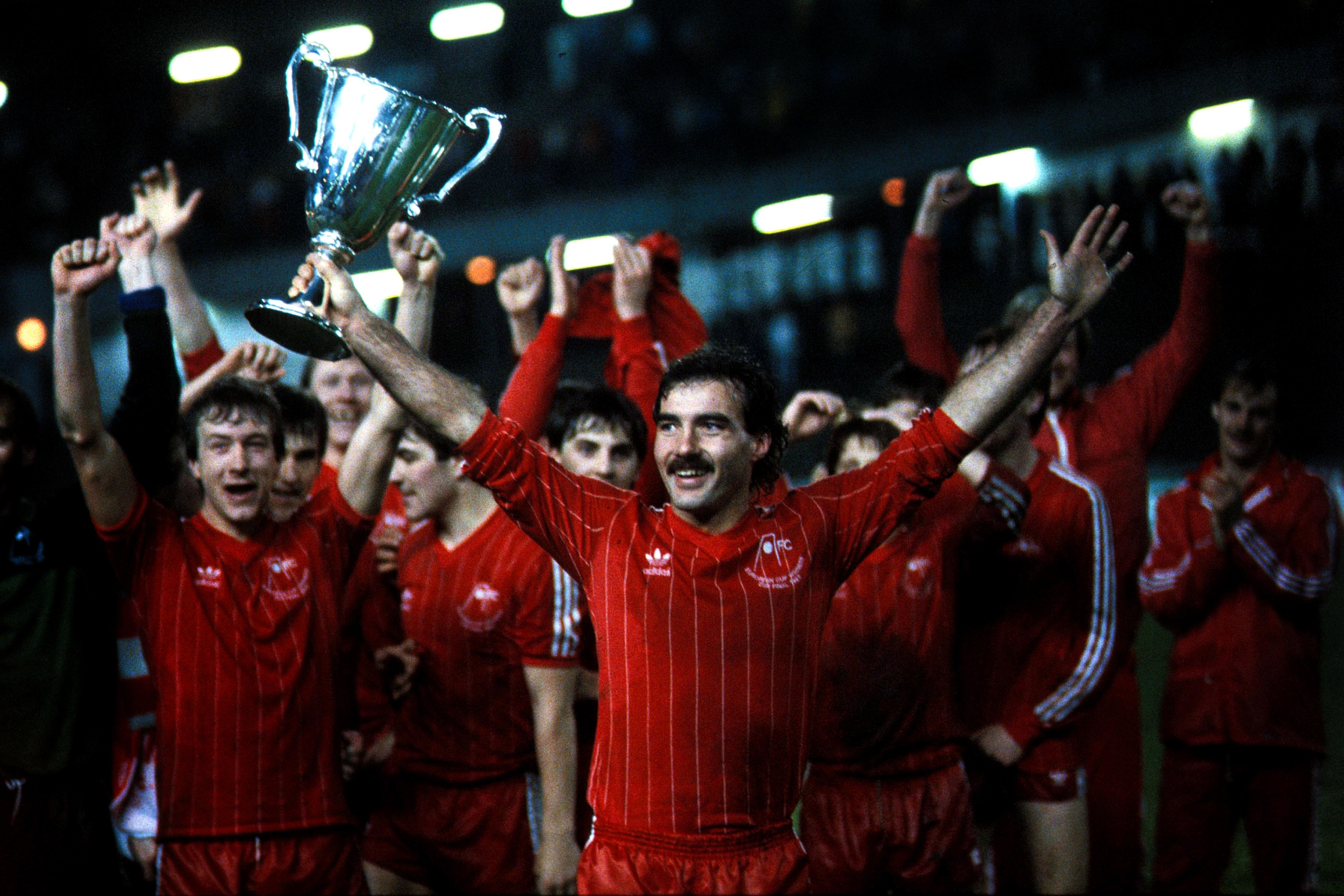 GLORY NIGHT:  Aberdeen captain Willie Miller holds aloft the European Cup Winners' Cup in the Ullevi Stadium, Gothenburg.