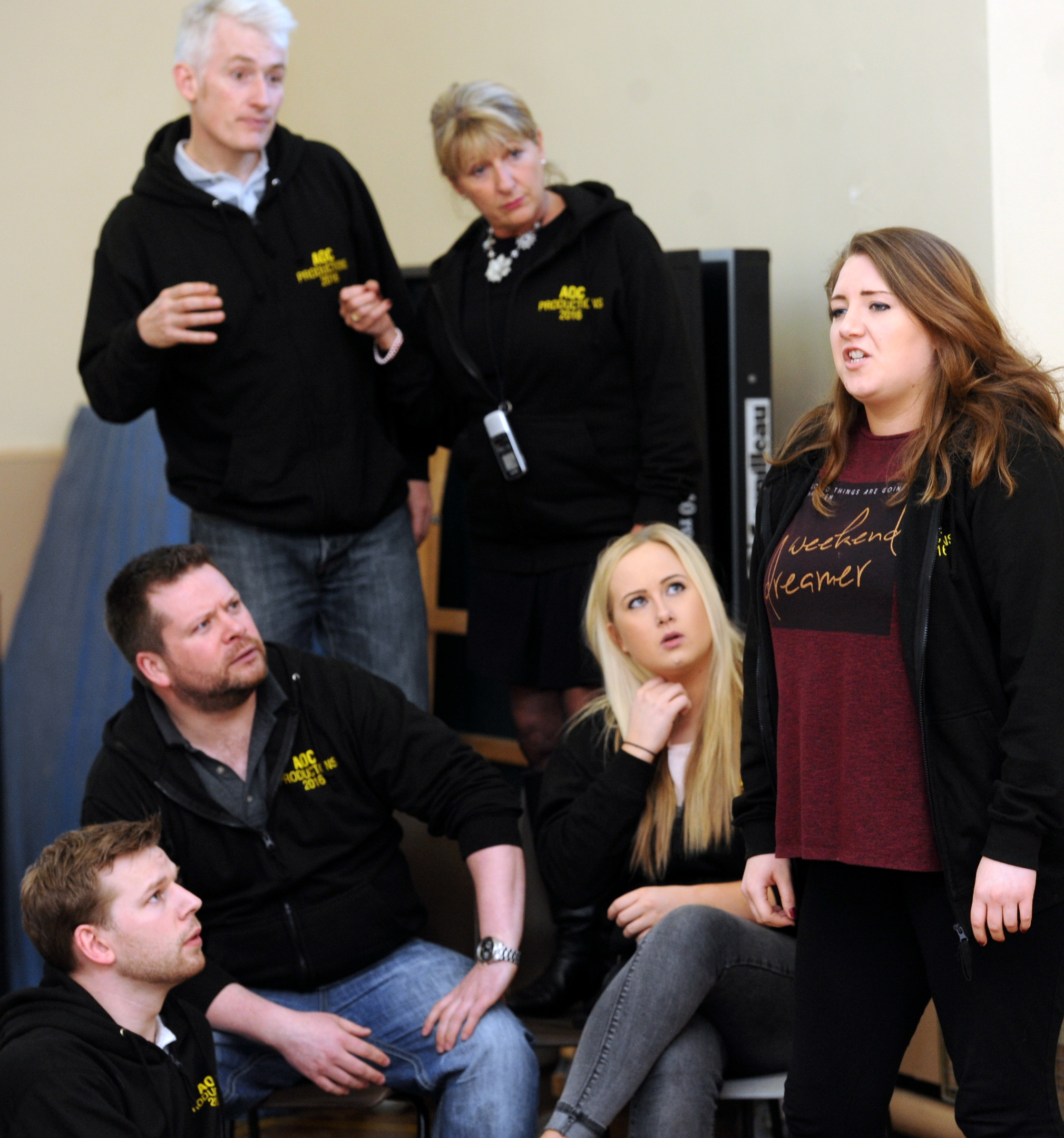 Ian Towns, Chris Wallis, Hannah McKenzie  and Sarah Dawson  get in character for Sunshine on Leith