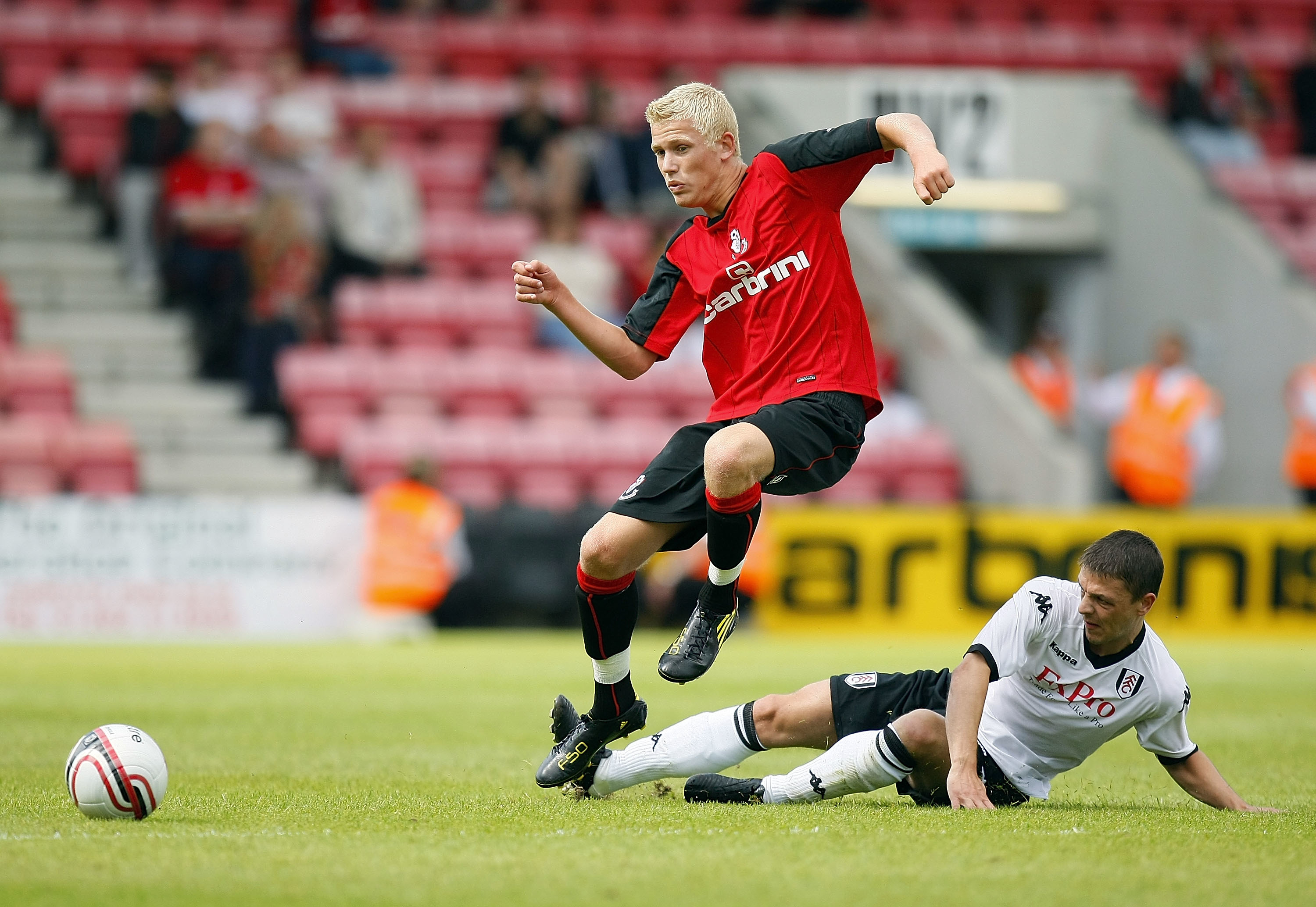 Jayden Stockley of Bournemouth fights for possession.