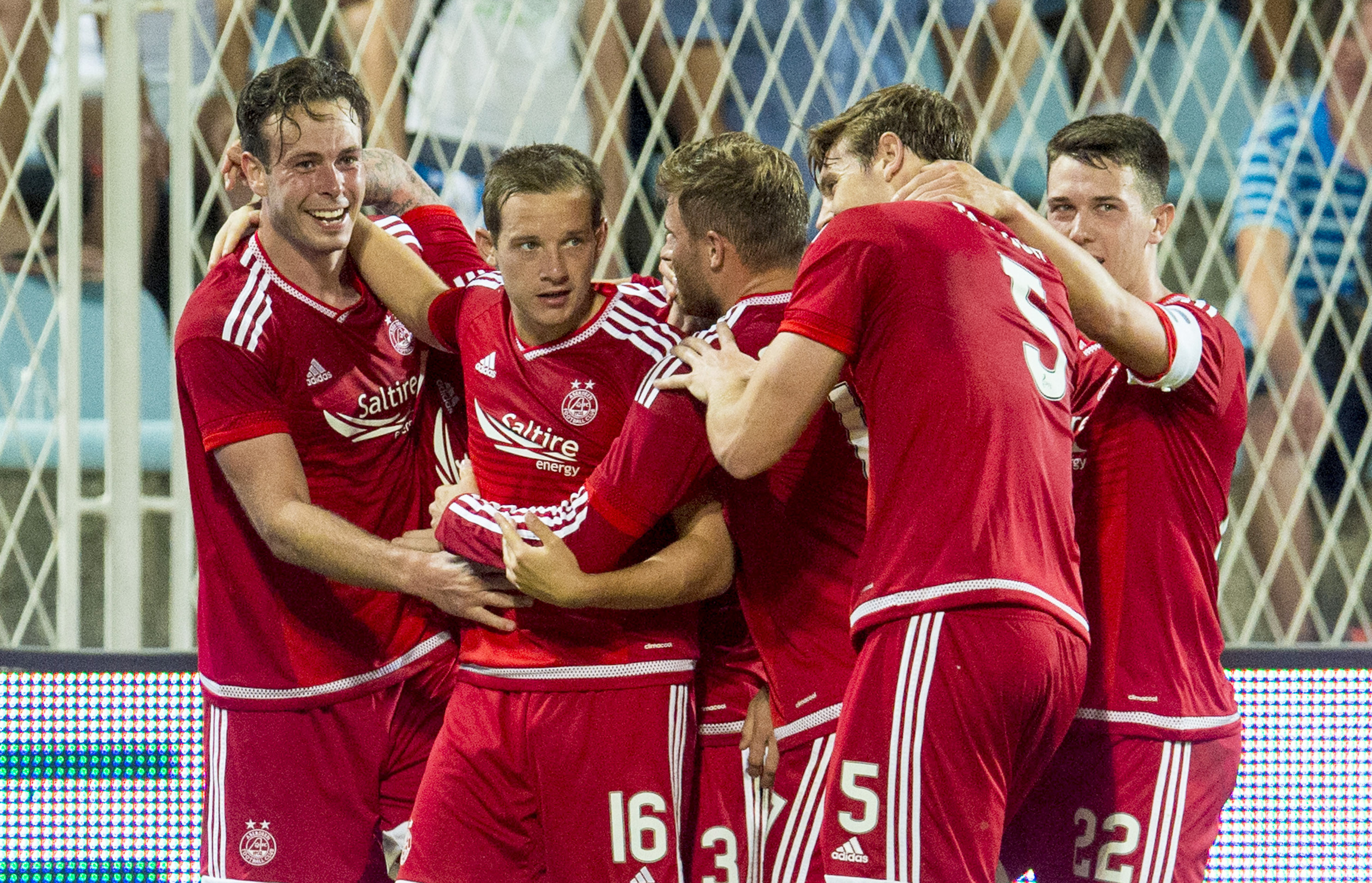 The Dons celebrated a 3-0 victory over HNK Rijeka in Croatia.