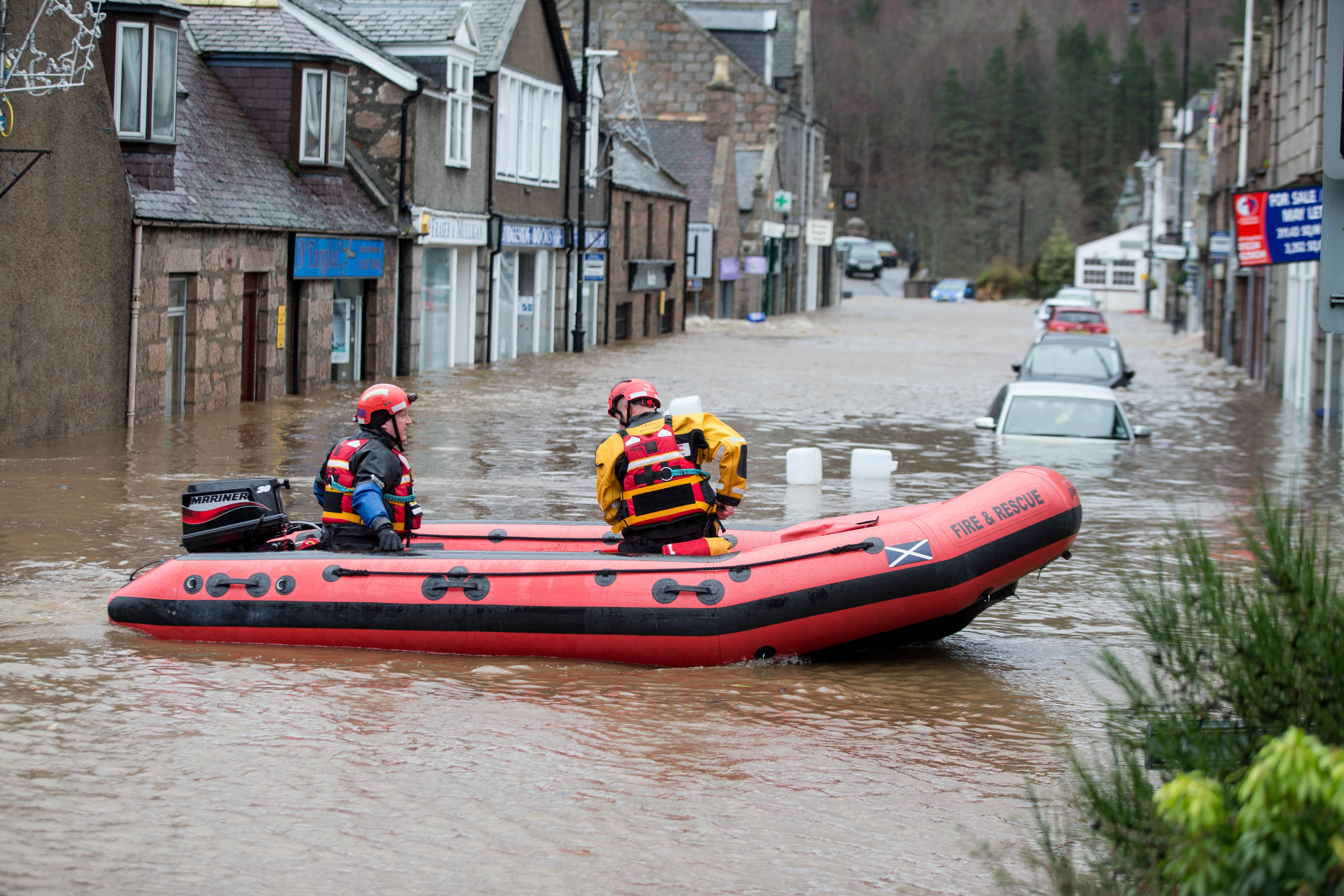 Emergency crews rushed to the rescue in Ballater after Storm Frank.