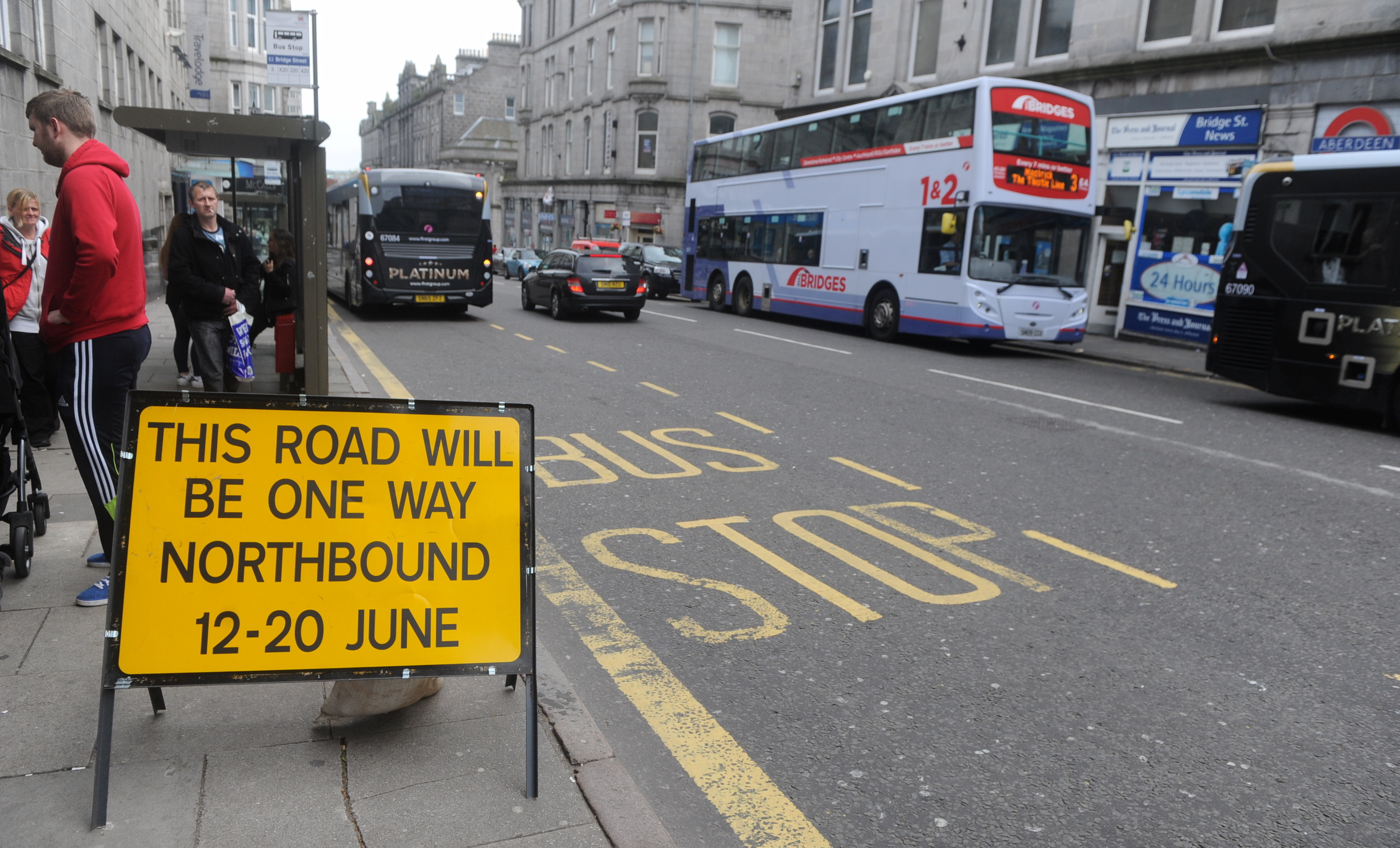 A sign in Bridge Street warning of the imminent closure.