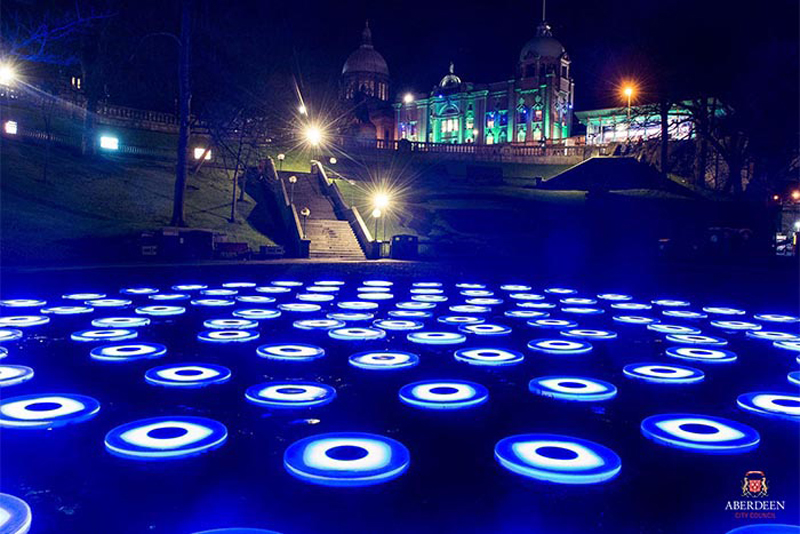 Light installation The Pool at the city's Union Terrace Gardens was part