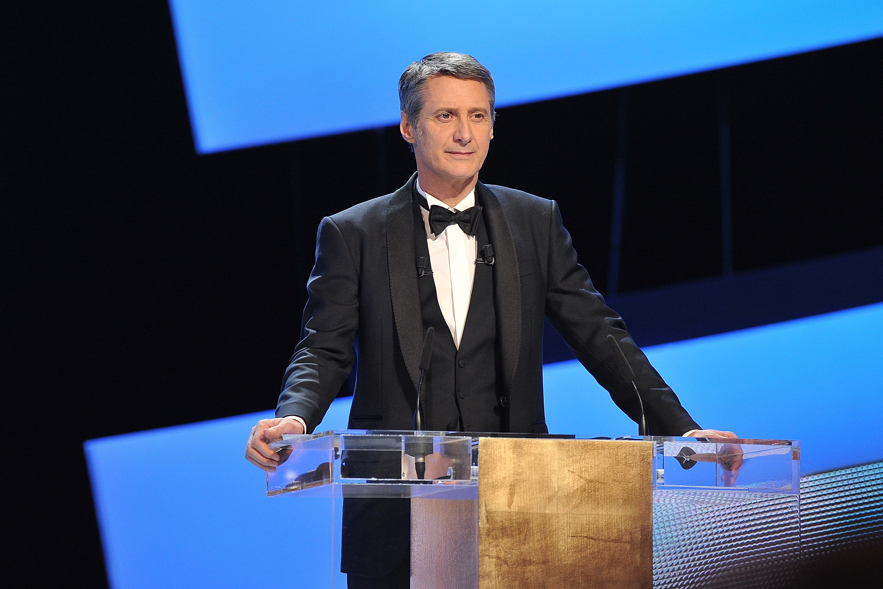 PARIS, FRANCE - FEBRUARY 24: Host Antoine de Caunes speaks on stage during the 37th Cesar Film Awards at Theatre du Chatelet on February 24, 2012 in Paris, France. (Photo by Pascal Le Segretain/Getty Images)