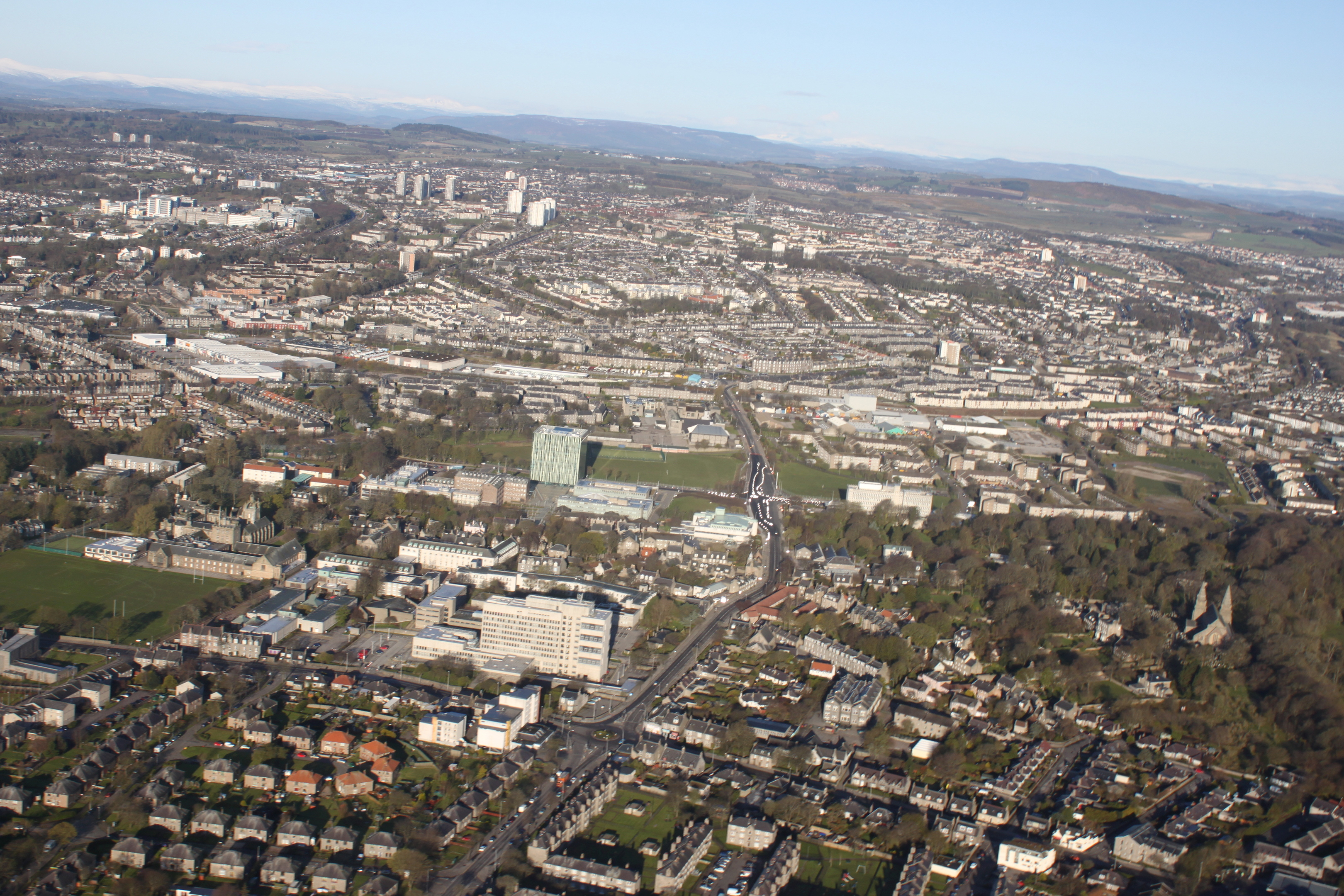 A cityscape of Aberdeen looking West