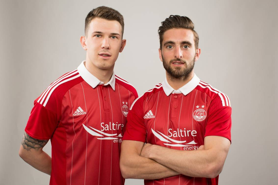 Ryan Jack and Graeme Shinnie show off the new kit.