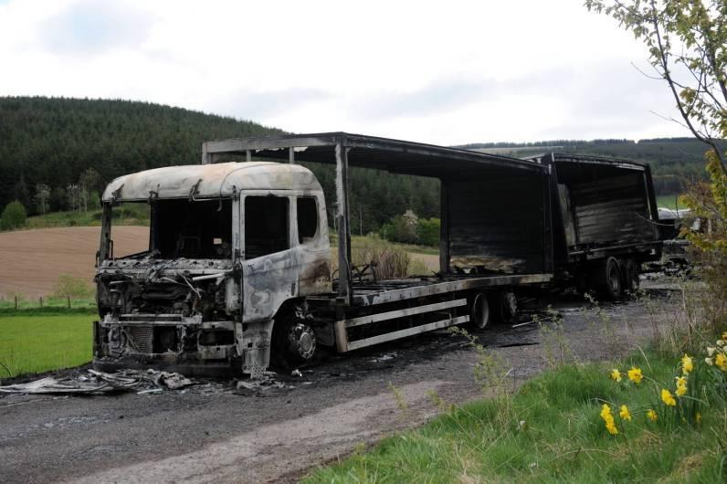 The lorries were stolen from M&H Logistics in Aberdeen