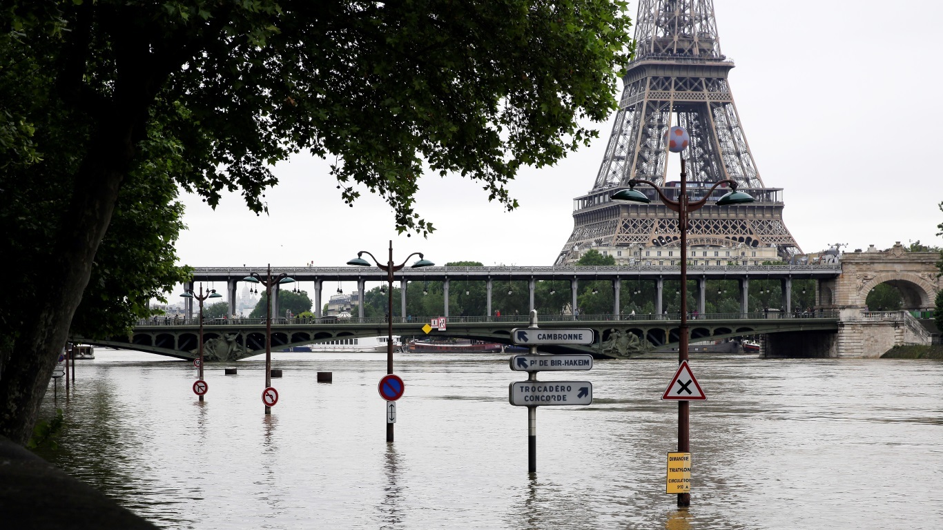View of the flooded banks of the river Seine (Jerome Delay/AP)