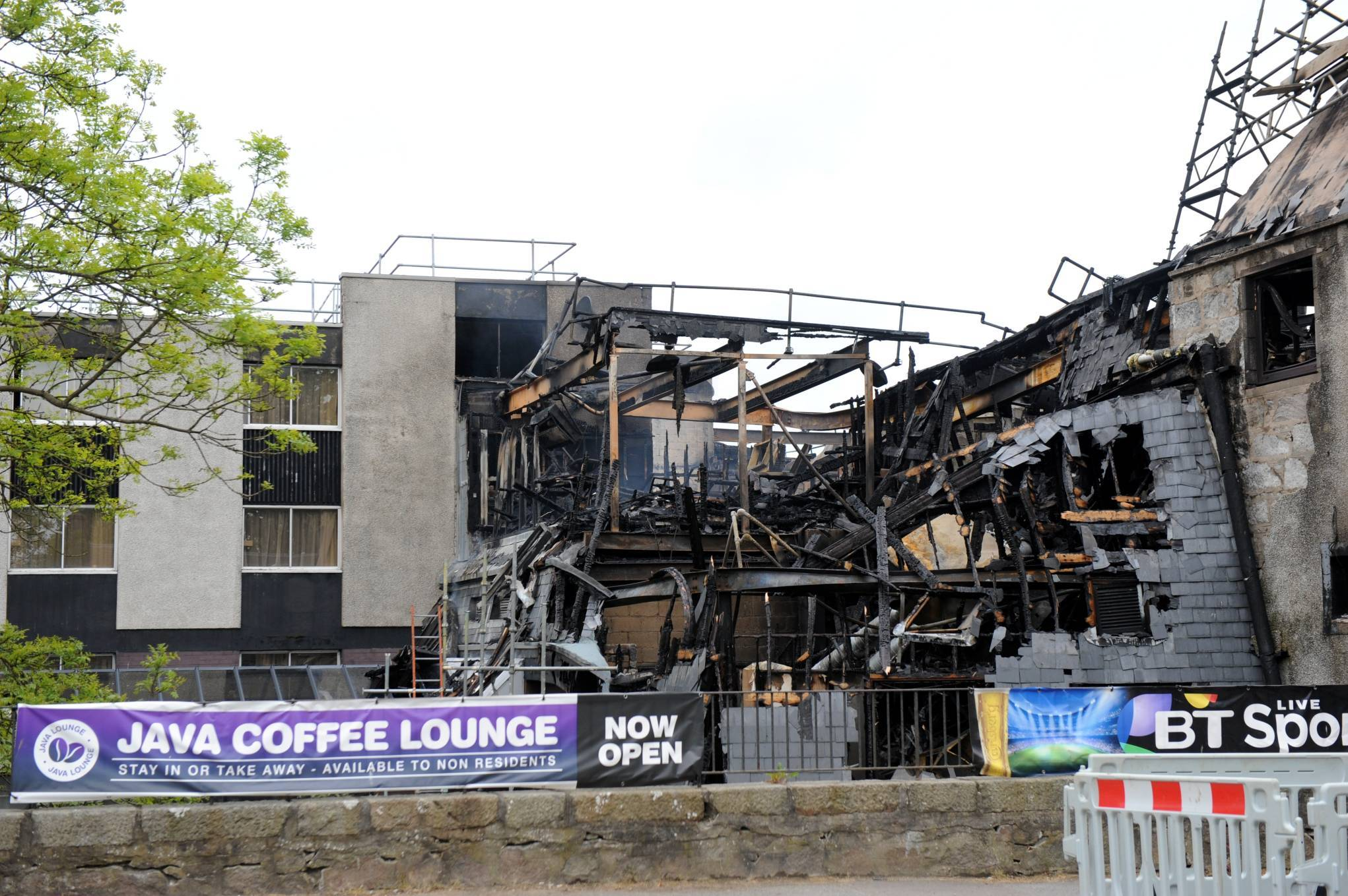 Part of the Britannia Hotel in Bucksburn has been destroyed by the fire.