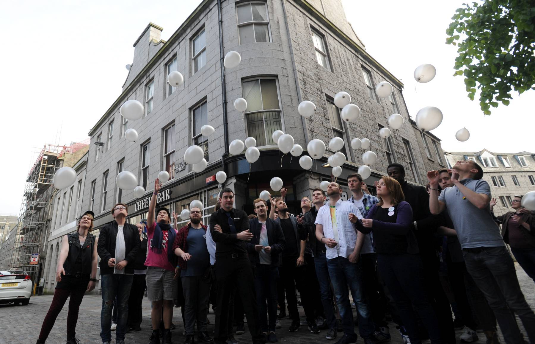 A minutes silence was held at Cheerz Bar and 50 balloons were released for the victims of the Orlando shootings.