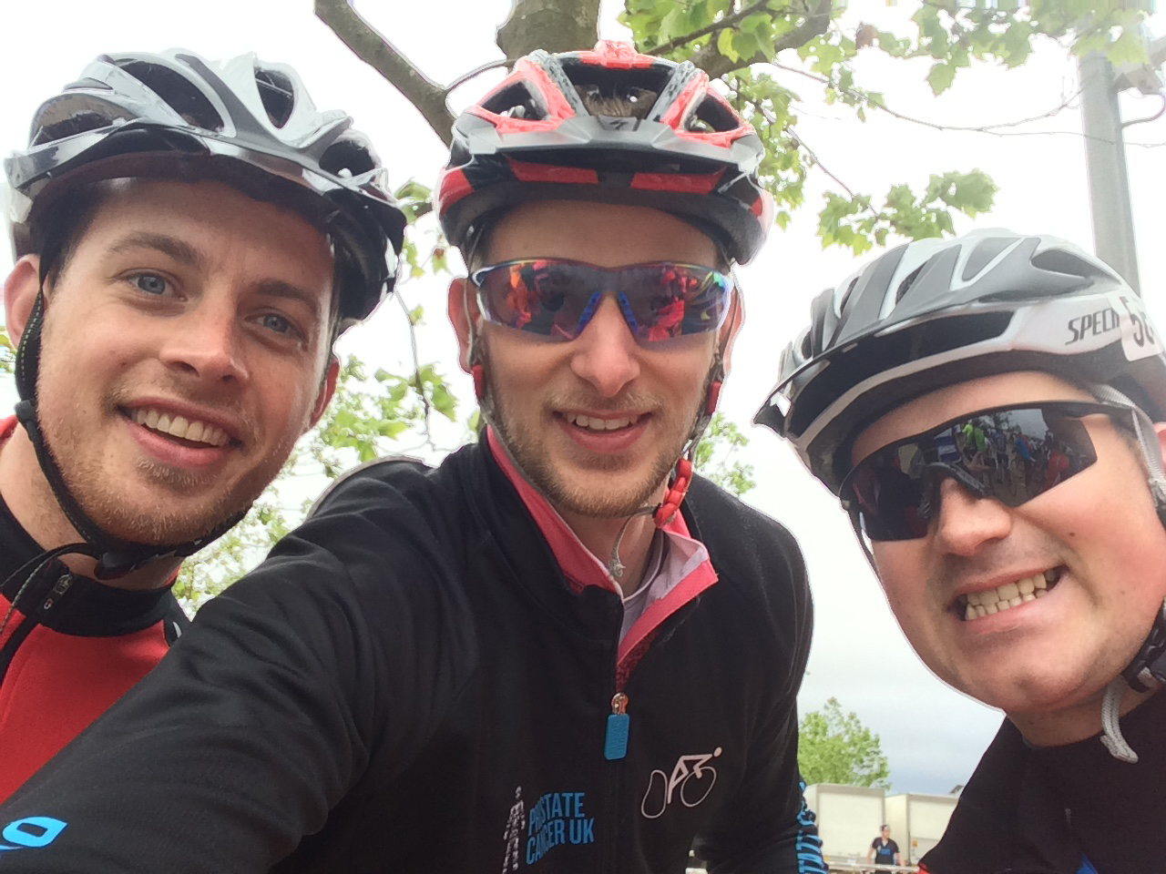 Left to right: Scott Hunter, Ryan Webster and James Mackie cycled from London to Amsterdam.