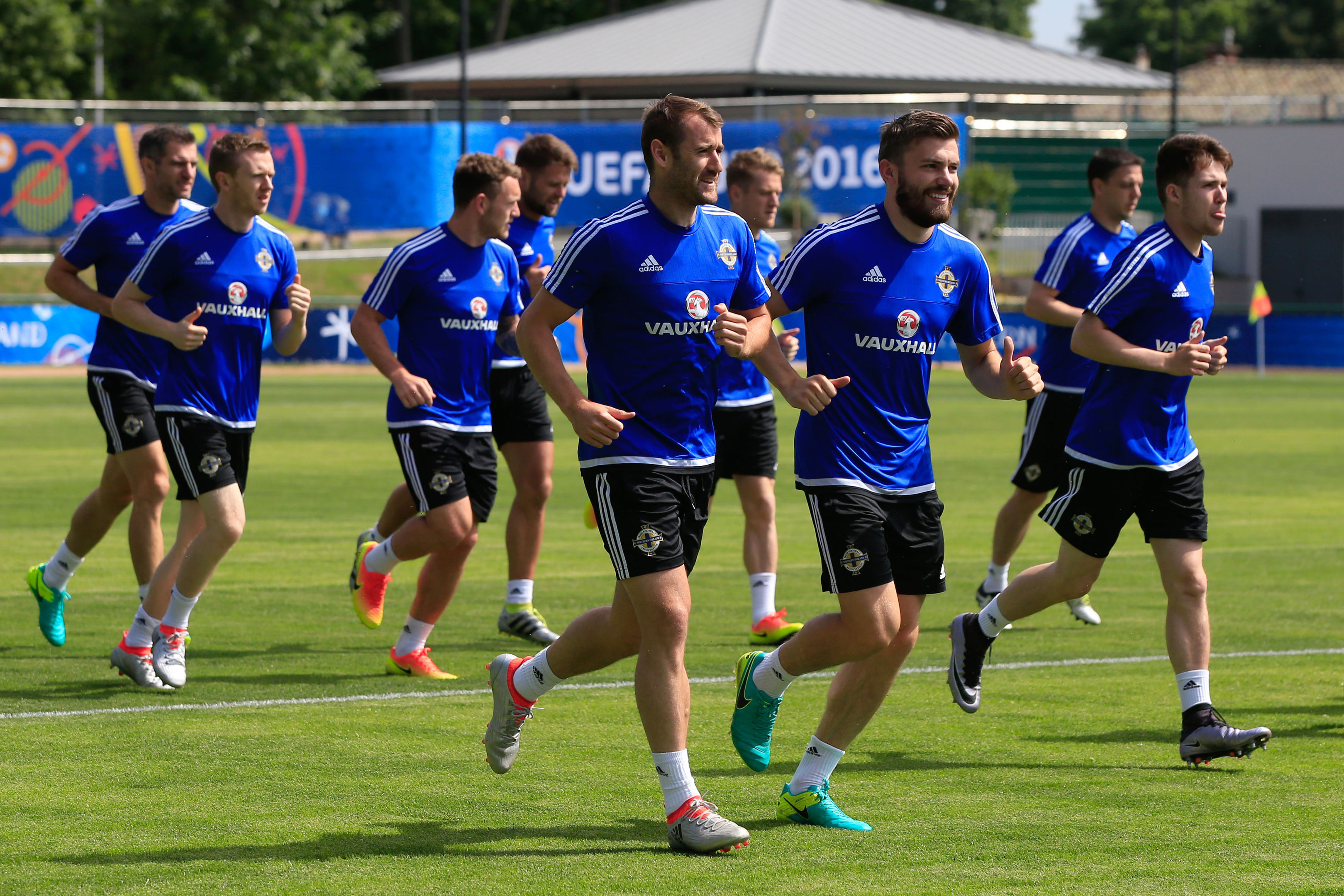 Niall McGinn, front, at Northern Ireland  training at Parc de Montchervet, Saint-Georges-de-Reneins, France.