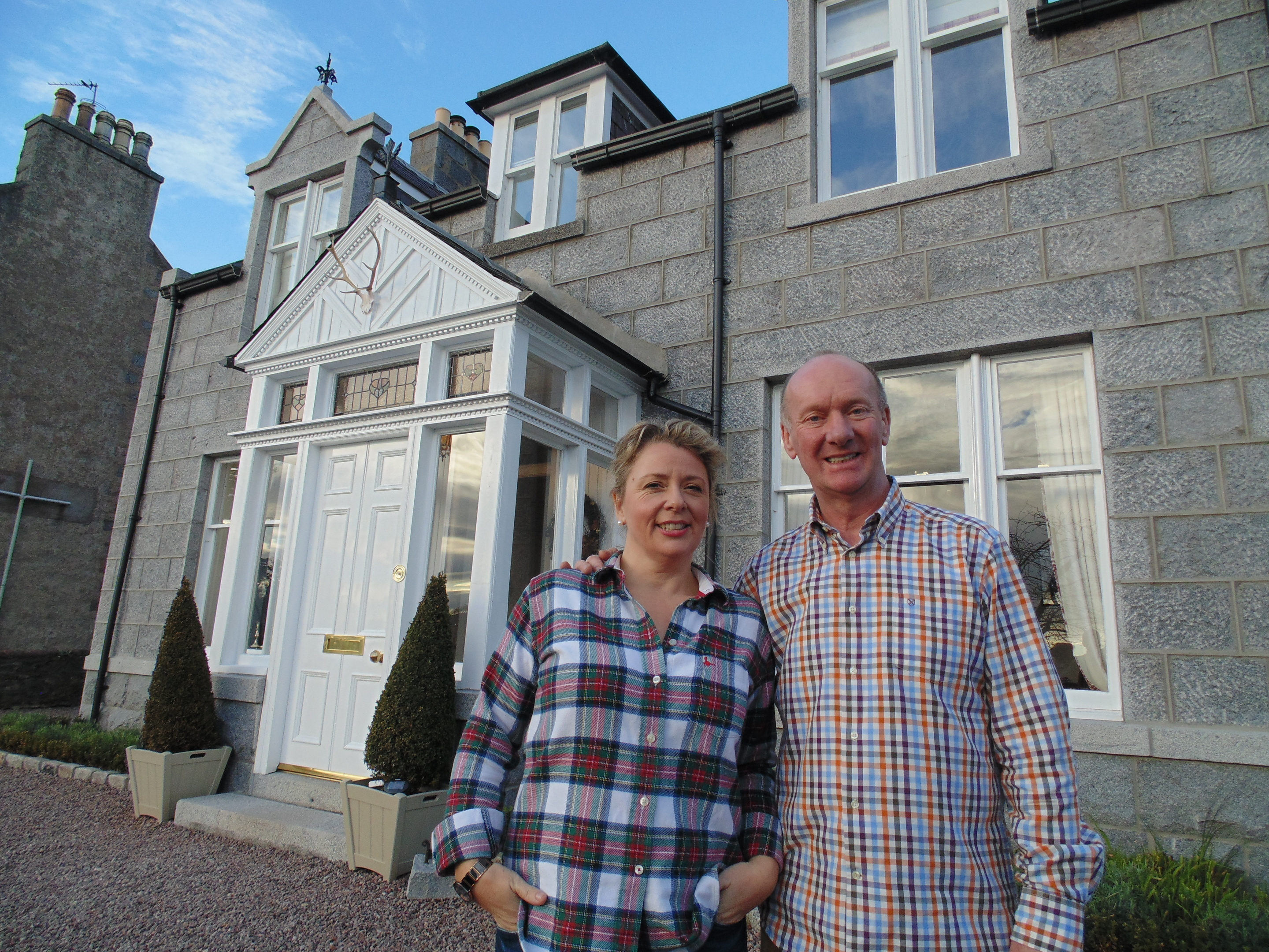 Bob Calder, pictured with his sister-in-law Kirsty Laird,  said he was delighted to have taken the top prize in TV show Four in a Bed.