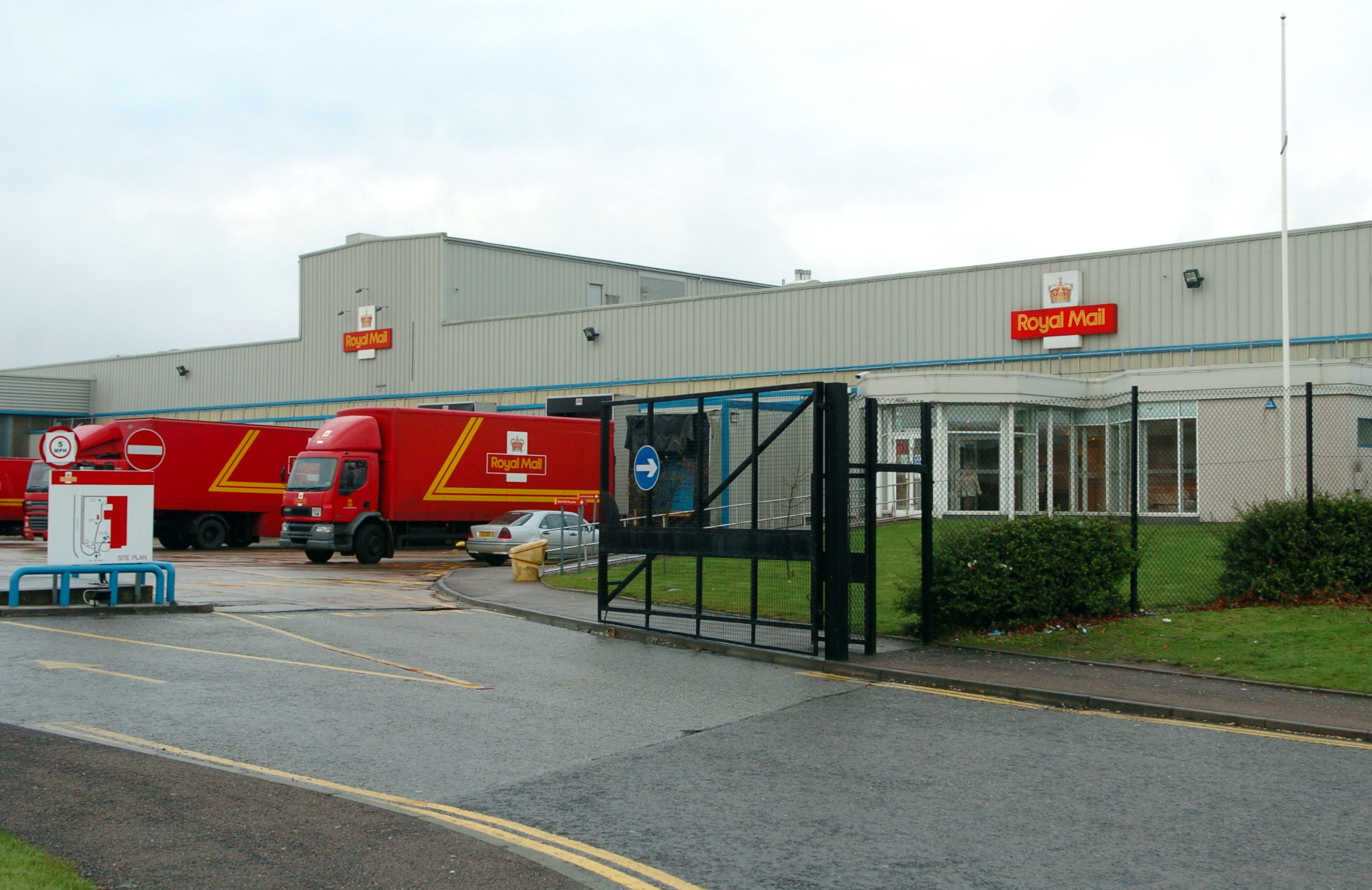The Royal Mail depot in Aberdeen where drugs were found.