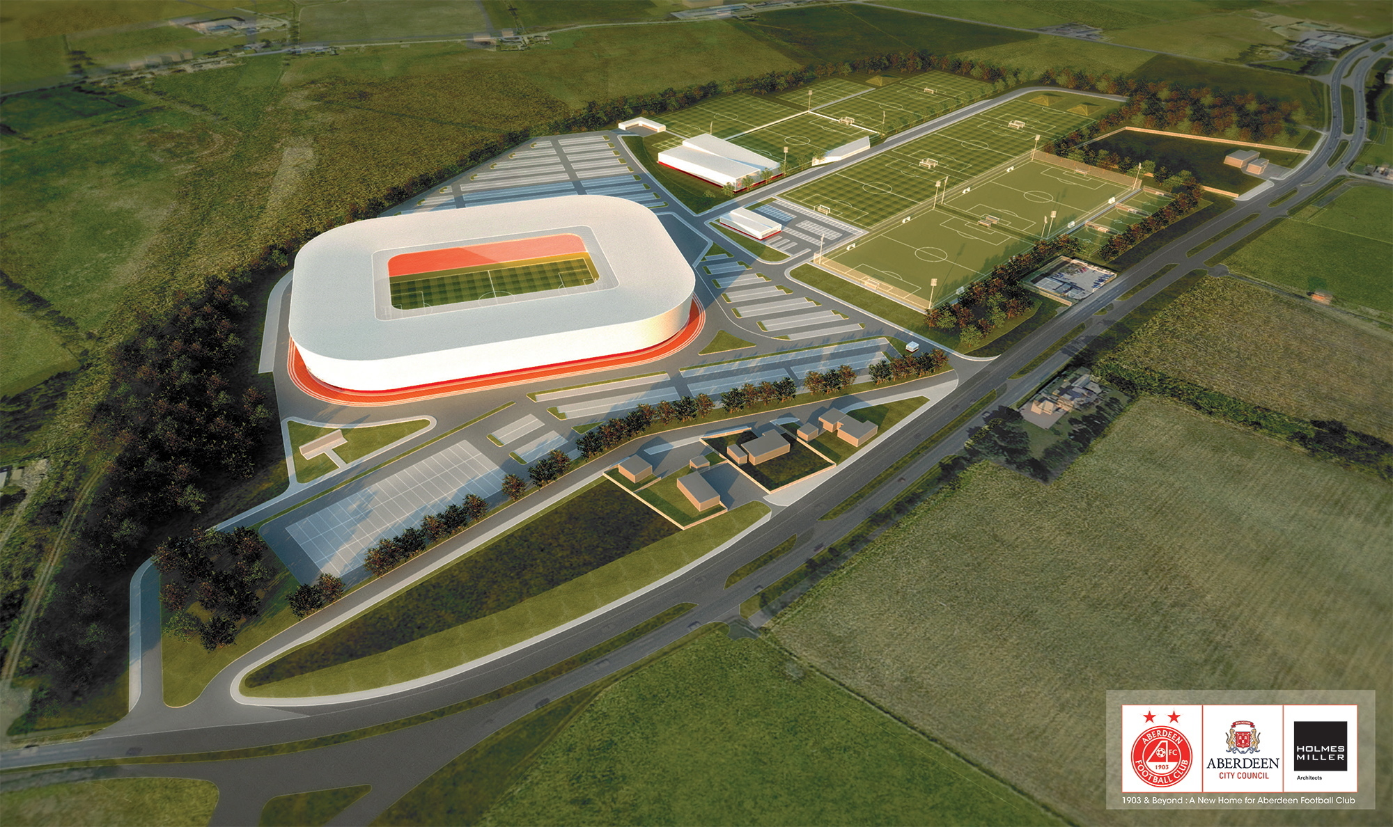An artist's impression of planned stadium  between Kingswells and Westhill.