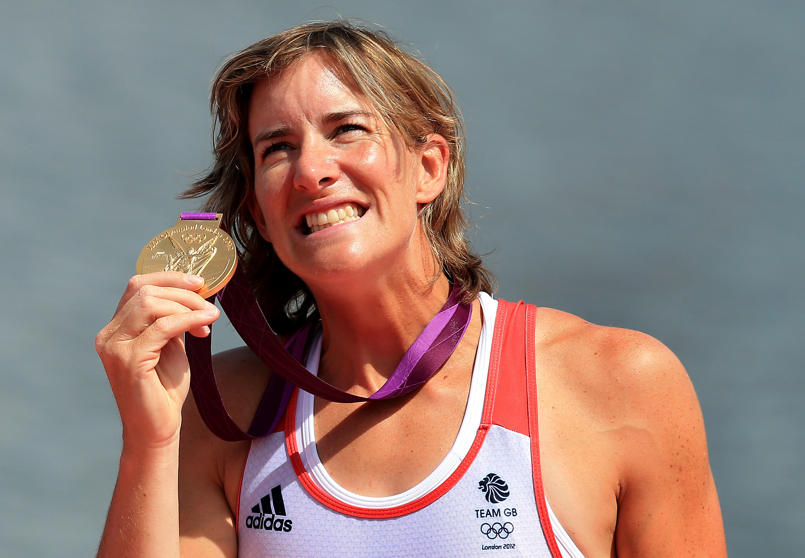 Katherine Grainger with her gold medal at London 2012.
