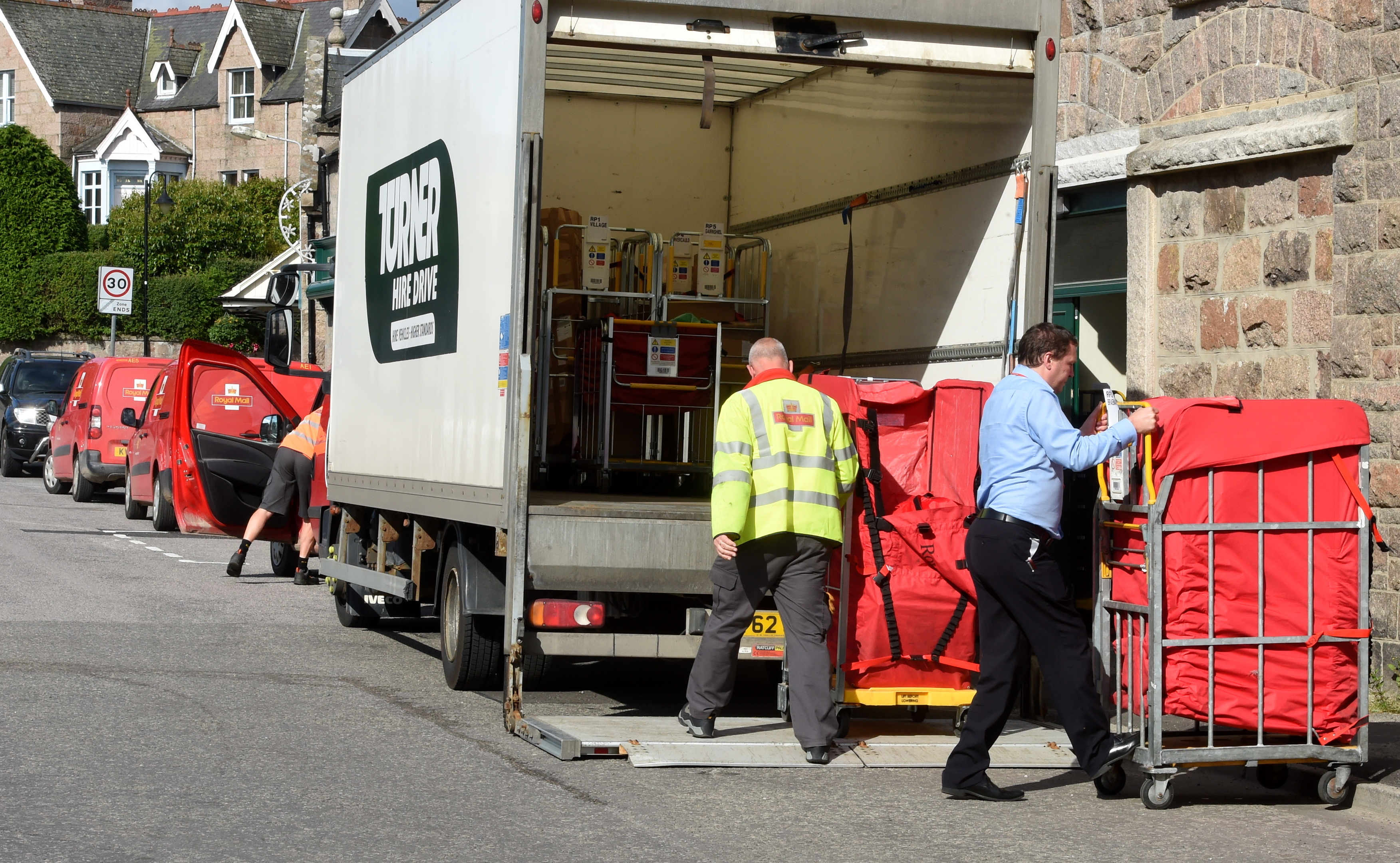 problem: With no sorting office in Ballater, post has been getting sorted in a car park.