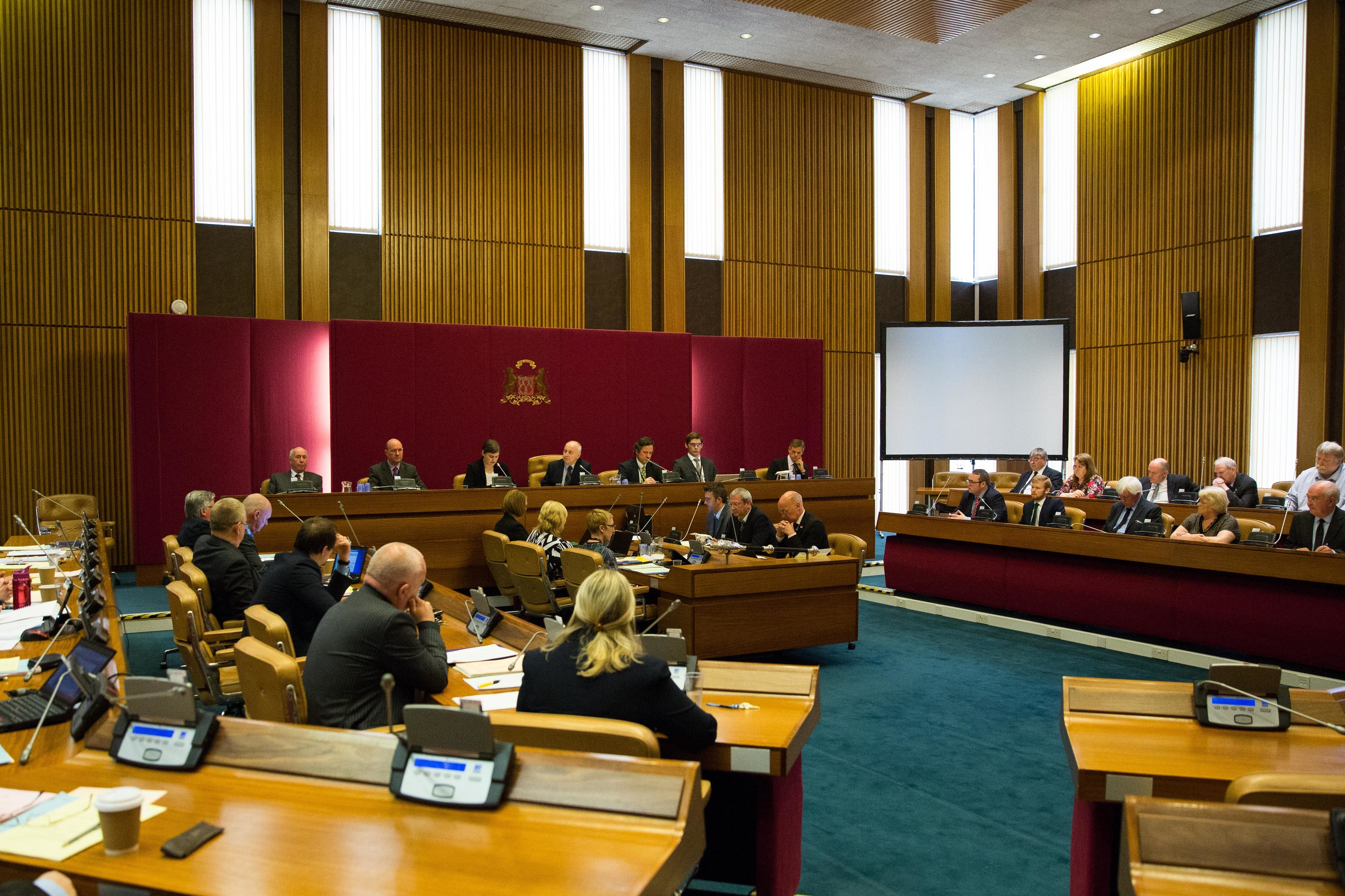 Chief executive Angela Scott addresses the full council in Aberdeen.