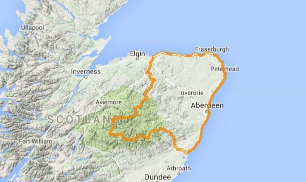 The alert has been issued for Aberdeen and Aberdeenshire. Picture courtesy of Google Maps.