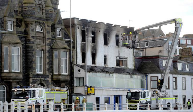 Picture from the aftermath of the fire at the Highland Haven Hotel, Shore Street Macduff.