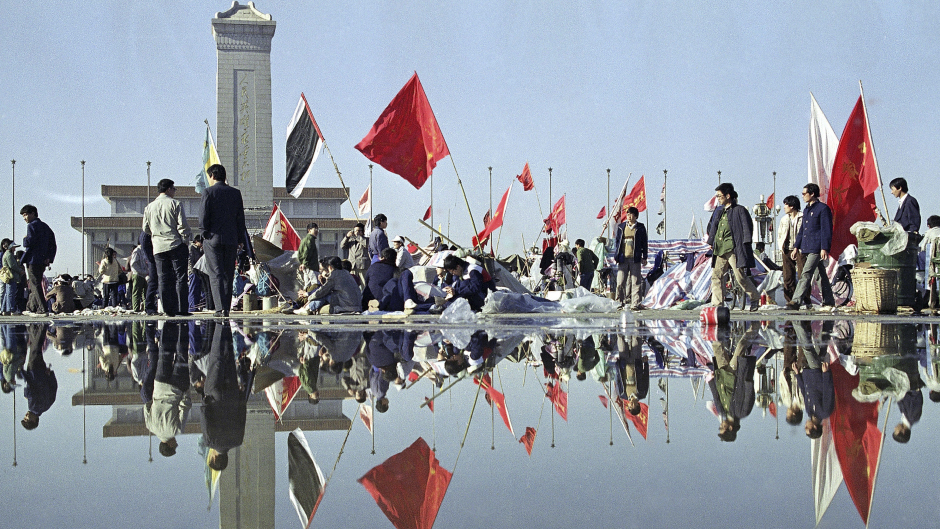 Student-led pro democracy protesters pictured camping out in Tiananmen Square