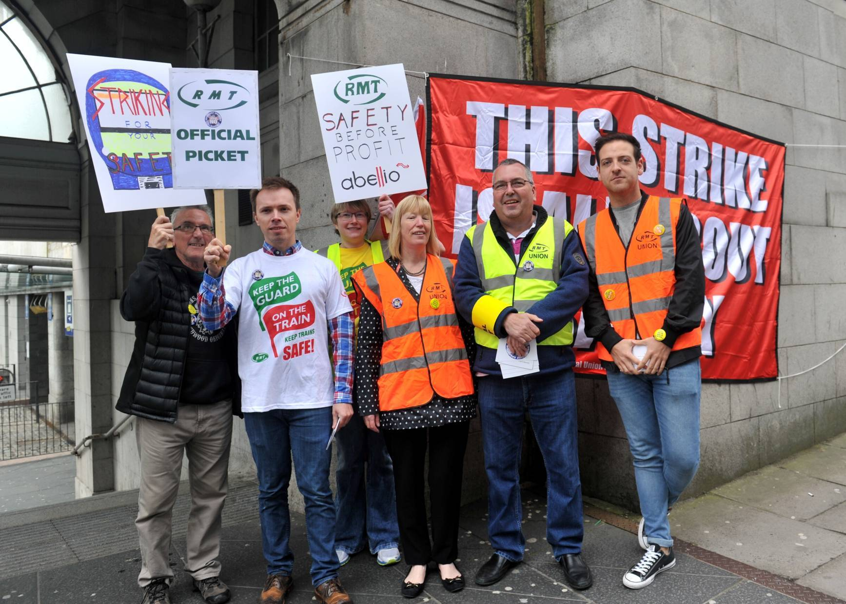 RMT protesters outside Aberdeen's station today.