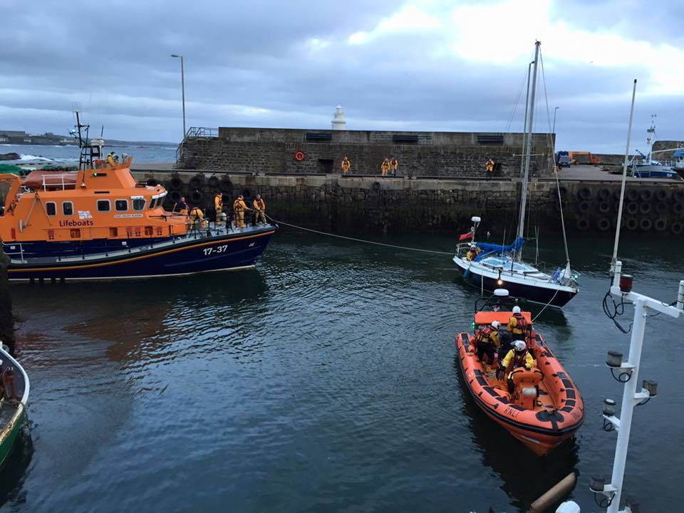 Crews rescued the man and took him to Macduff Harbour.
