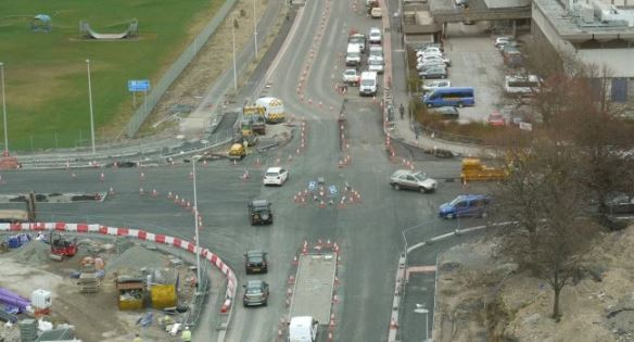 A temporary roundabout has been put in place on St Machar Drive.