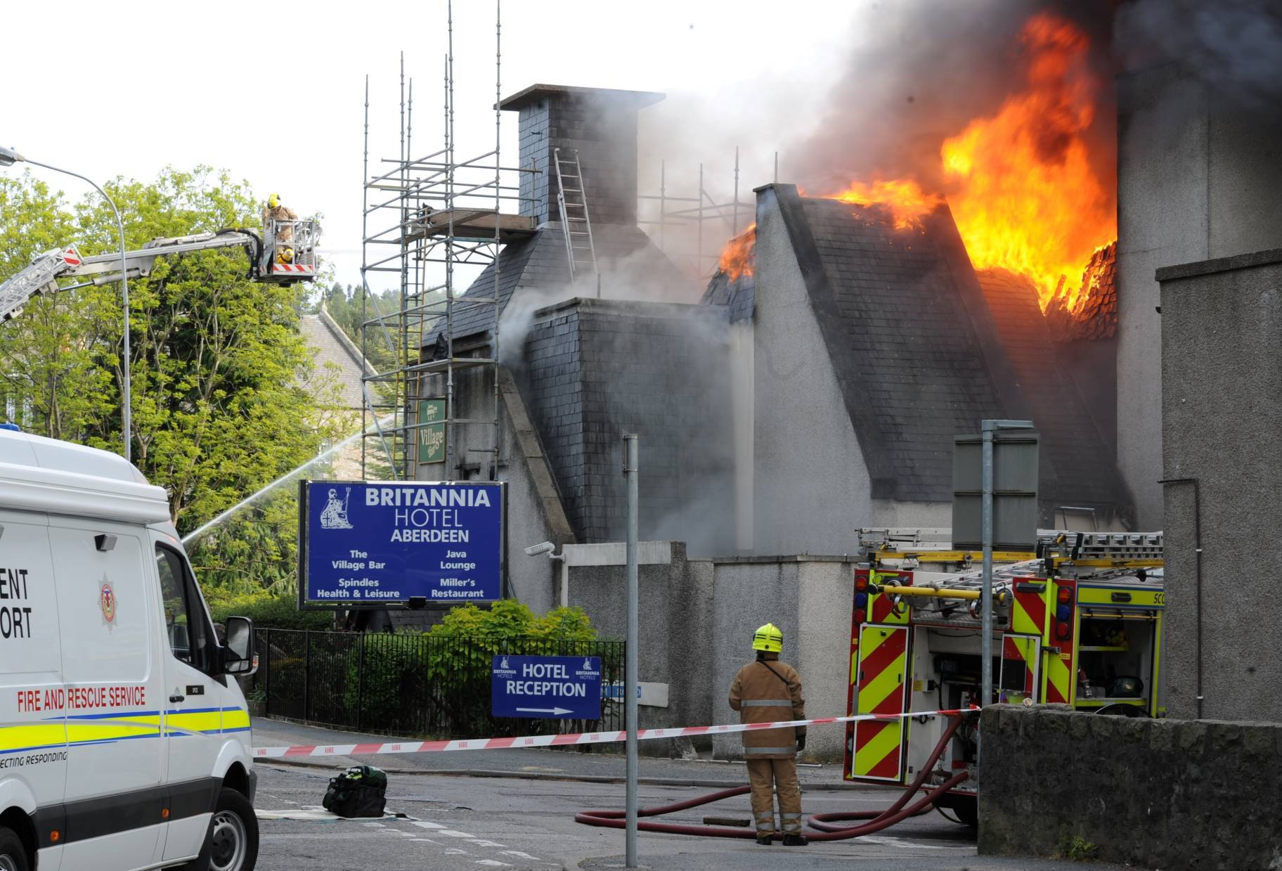 Firefighters tackle the major fire at Aberdeen's Britannia Hotel. Picture by Darrell Benns
