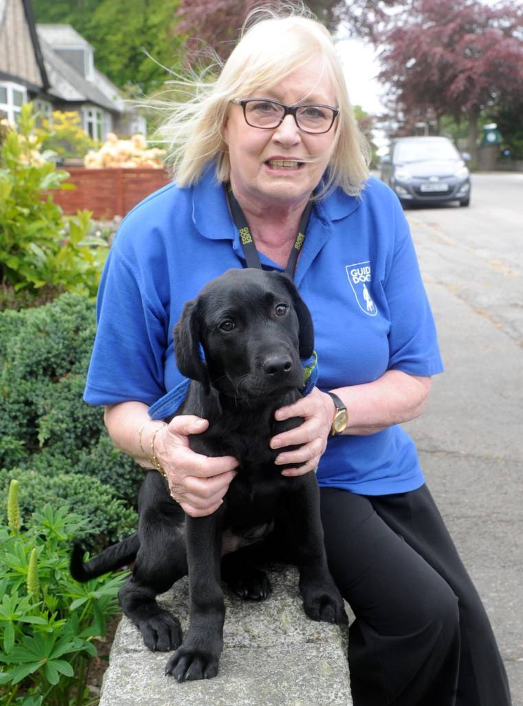 Edith with guide dog puppy Scout.