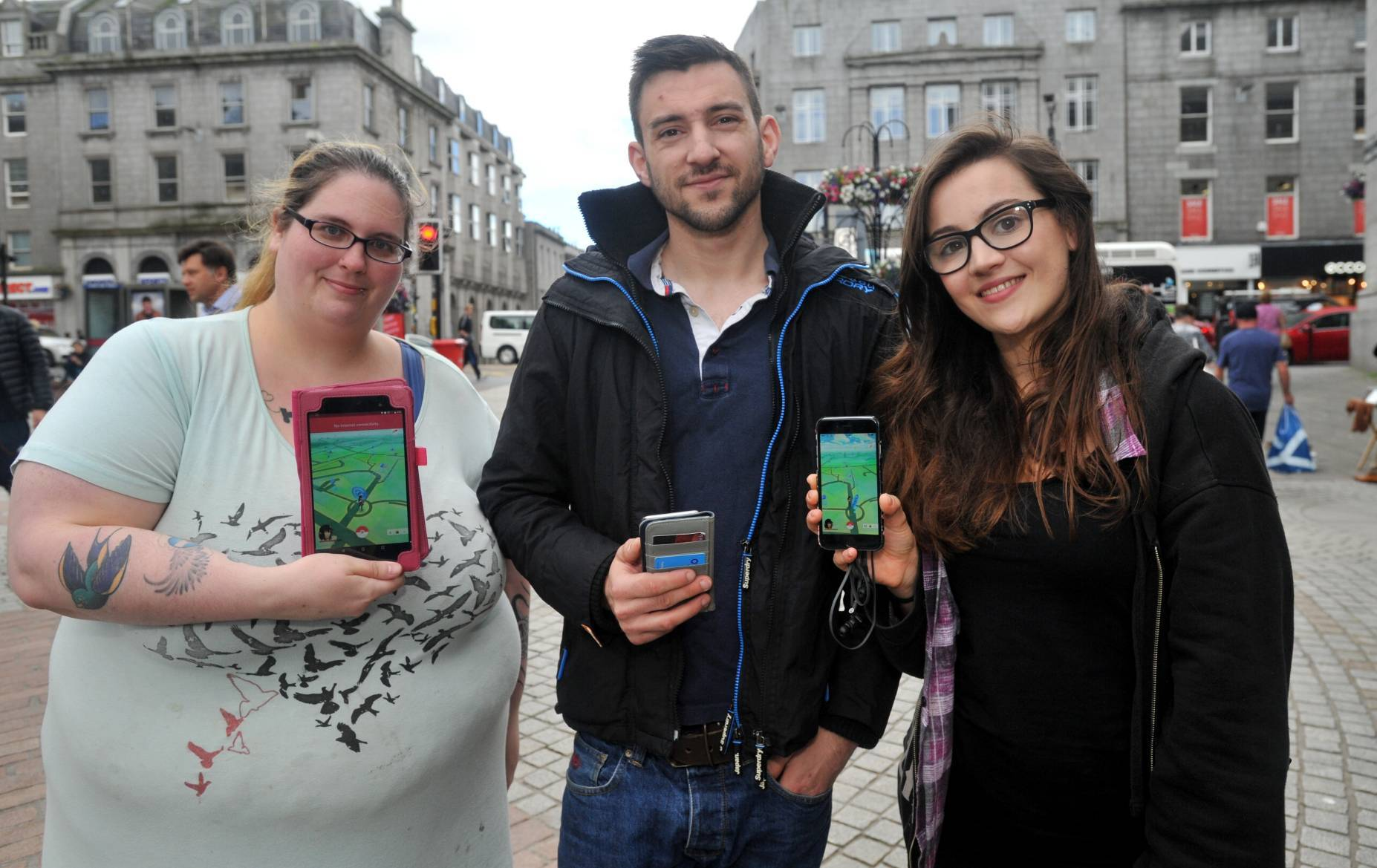 Charlotte, right, pictured with Melissa Stuart and Graham Alexander.