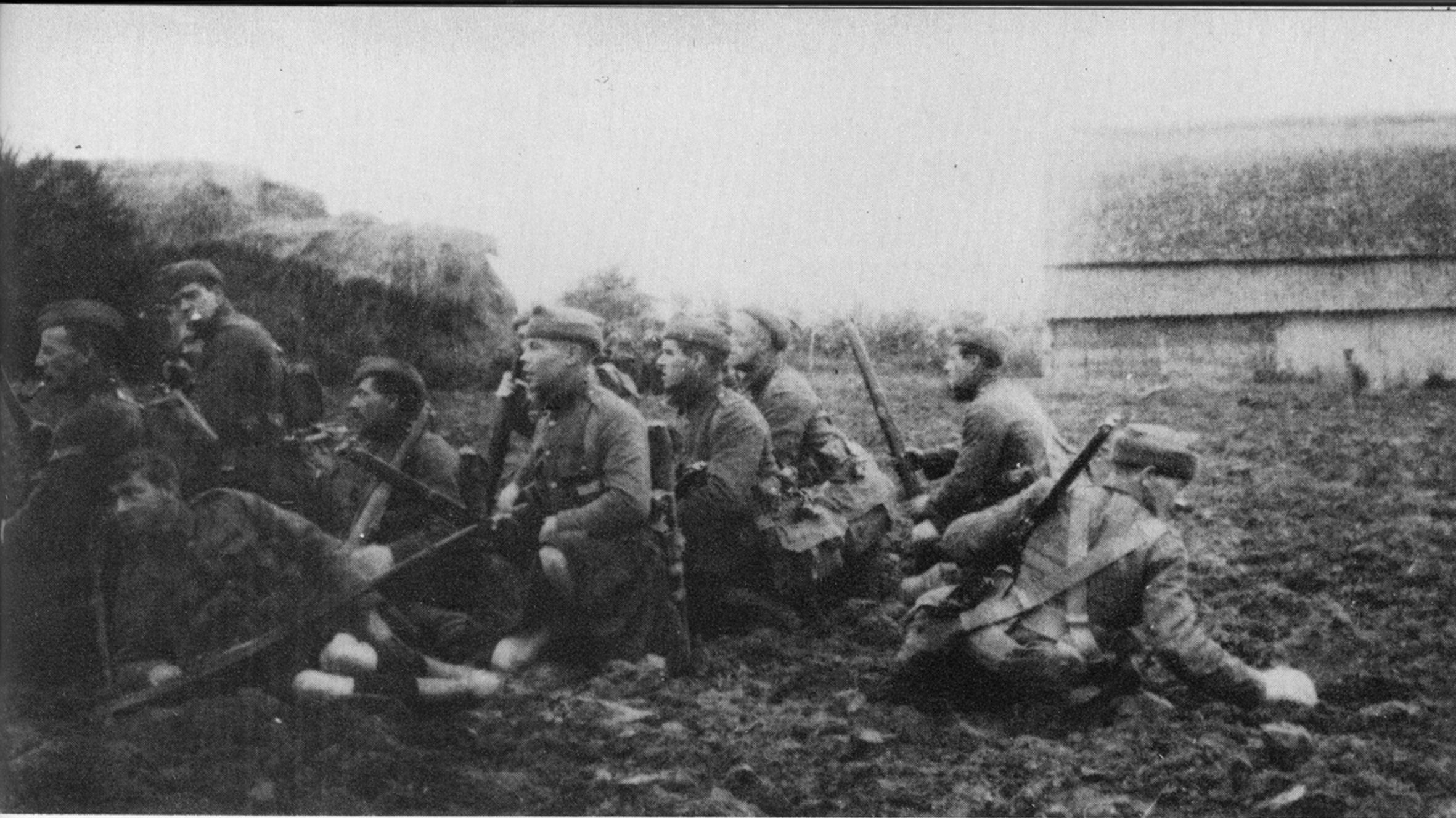 Some of the soldiers from 2nd Battalion Gordons pictured in Ypres in 1914.