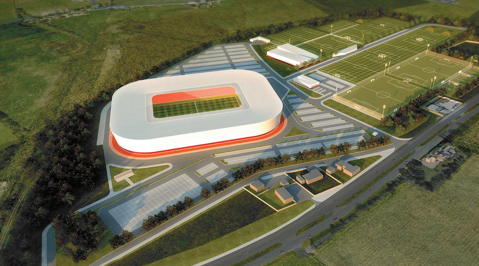 Artist's impression of Aberdeen's new stadium.