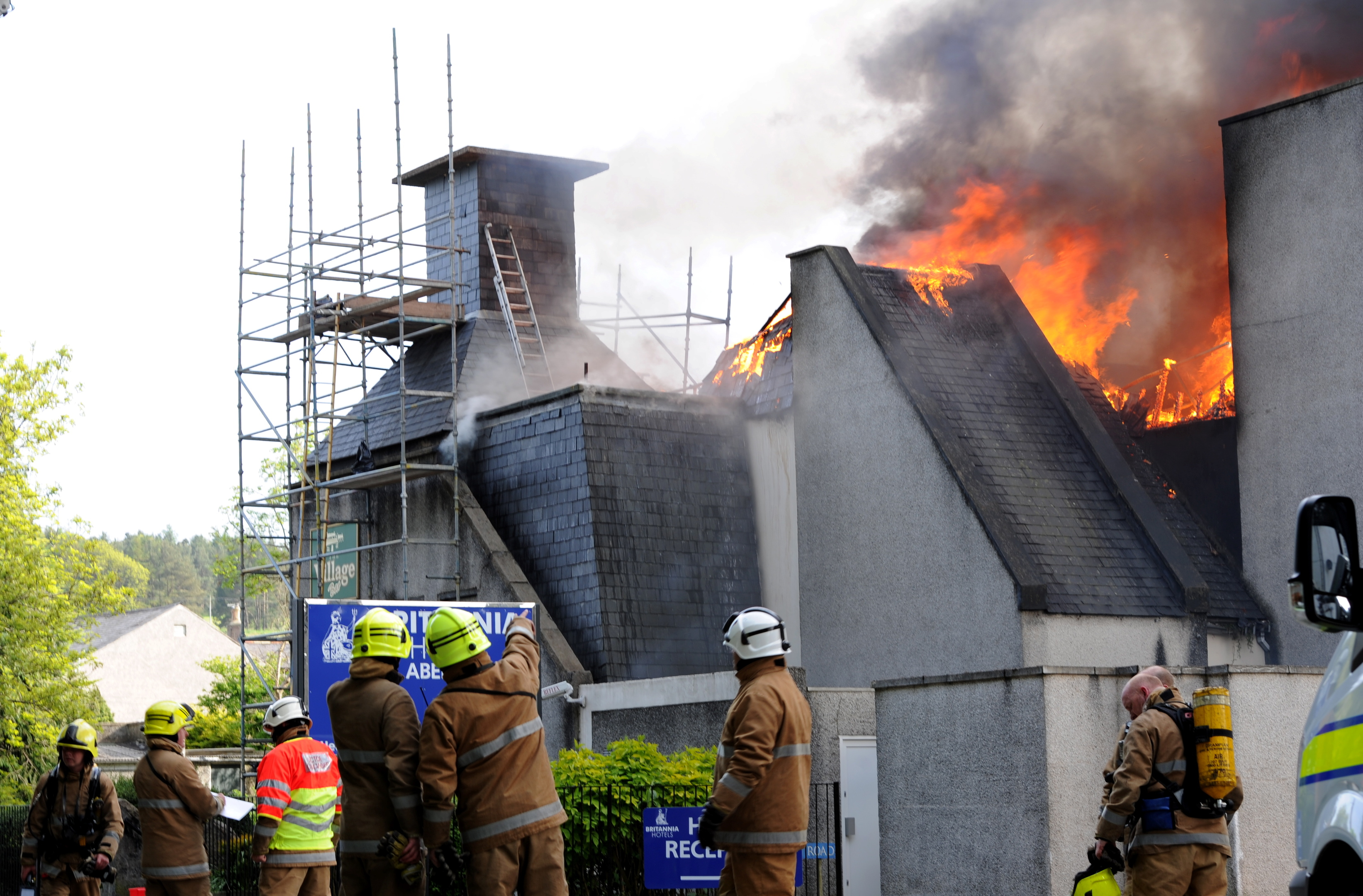 Flames leap from the roof of the Britannia Hotel in Bucksburn at the height of the fire.