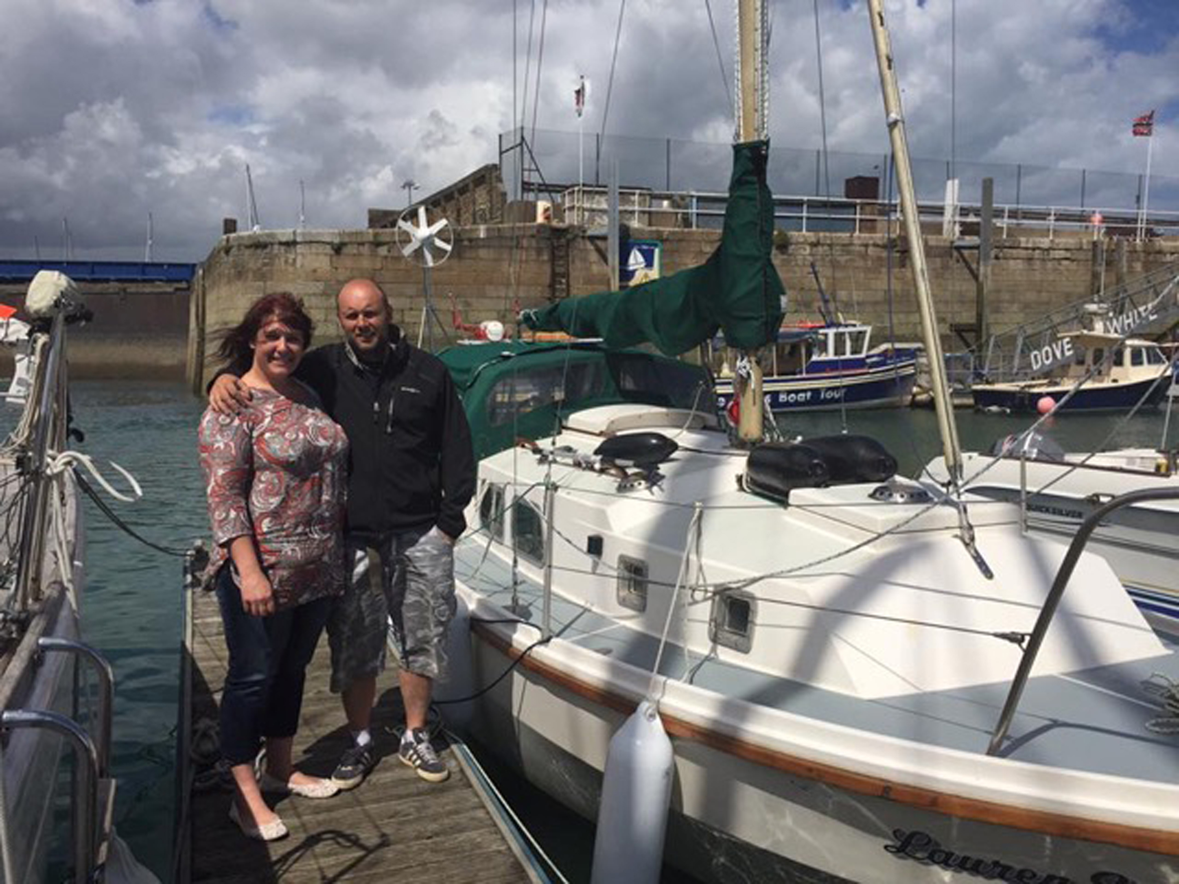Brian Munro with his partner Lisa Strachan alongside the Lauren Sophia.