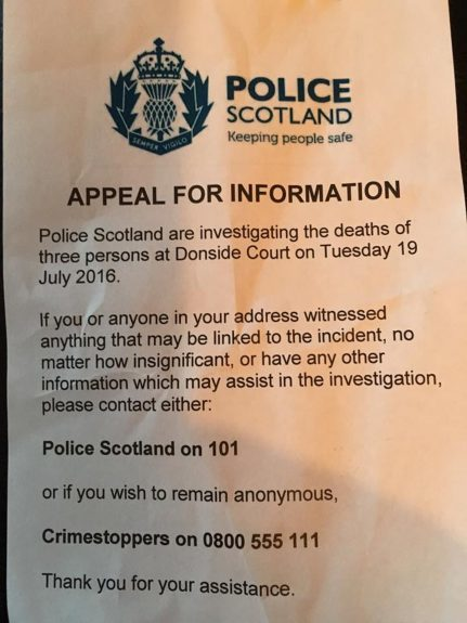 The letter sent to residents by officers.