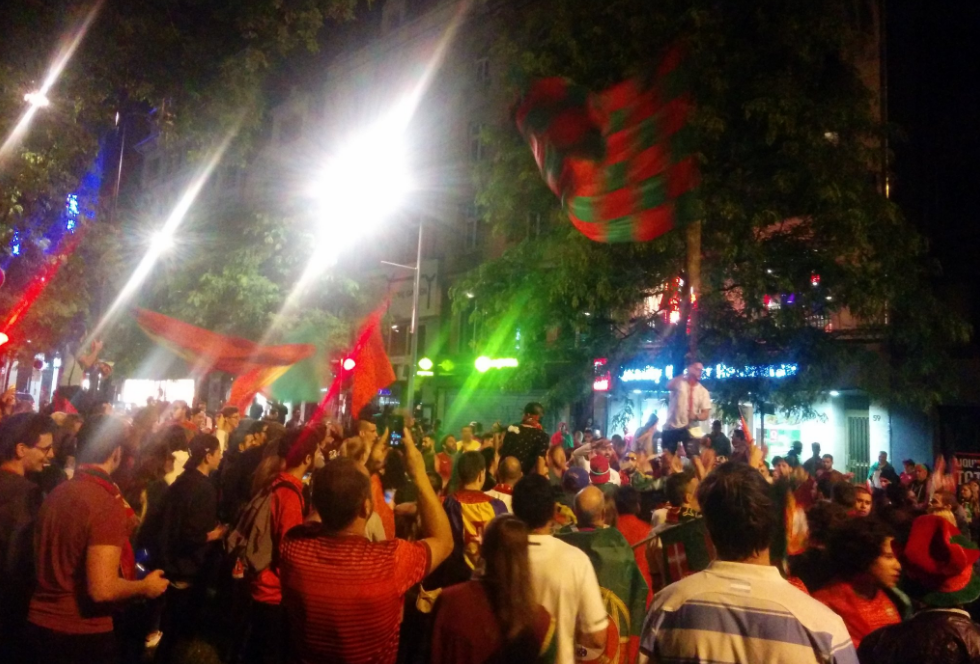 Party scenes on the streets of Luxembourg City after Portugal's 2-0 win over Wales