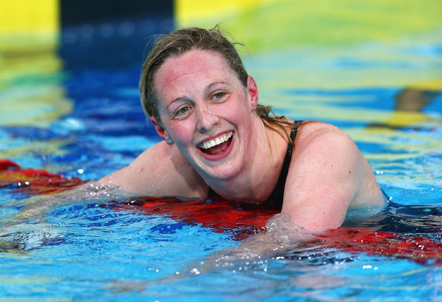 Gold medallist Hannah Miley of Scotland celebrates after winning the Women's 400m Individual Medley Final at Tollcross International Swimming Centre during day one of the Glasgow 2014 Commonwealth Games.