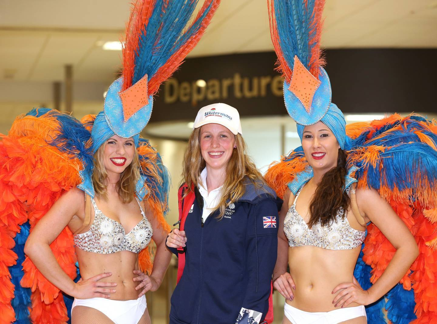 Hannah Miley at Aberdeen airport ahead of jetting off to Rio.