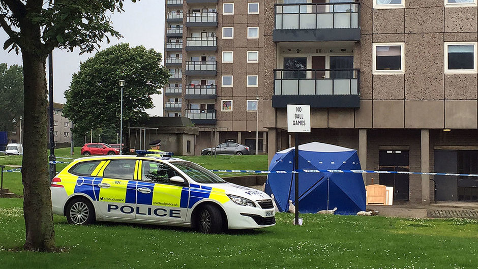 Police at the scene at Donside Court, Tillydrone