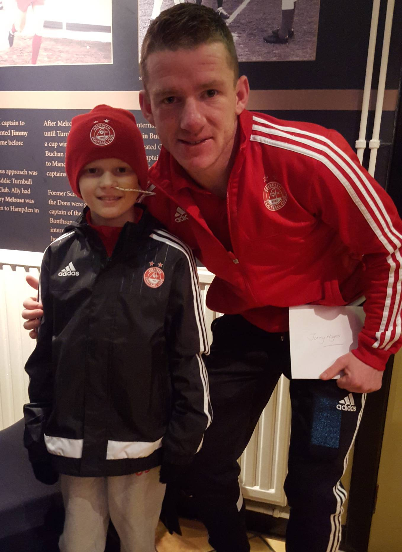 Finlay with his favourite Dons player Jonny Hayes