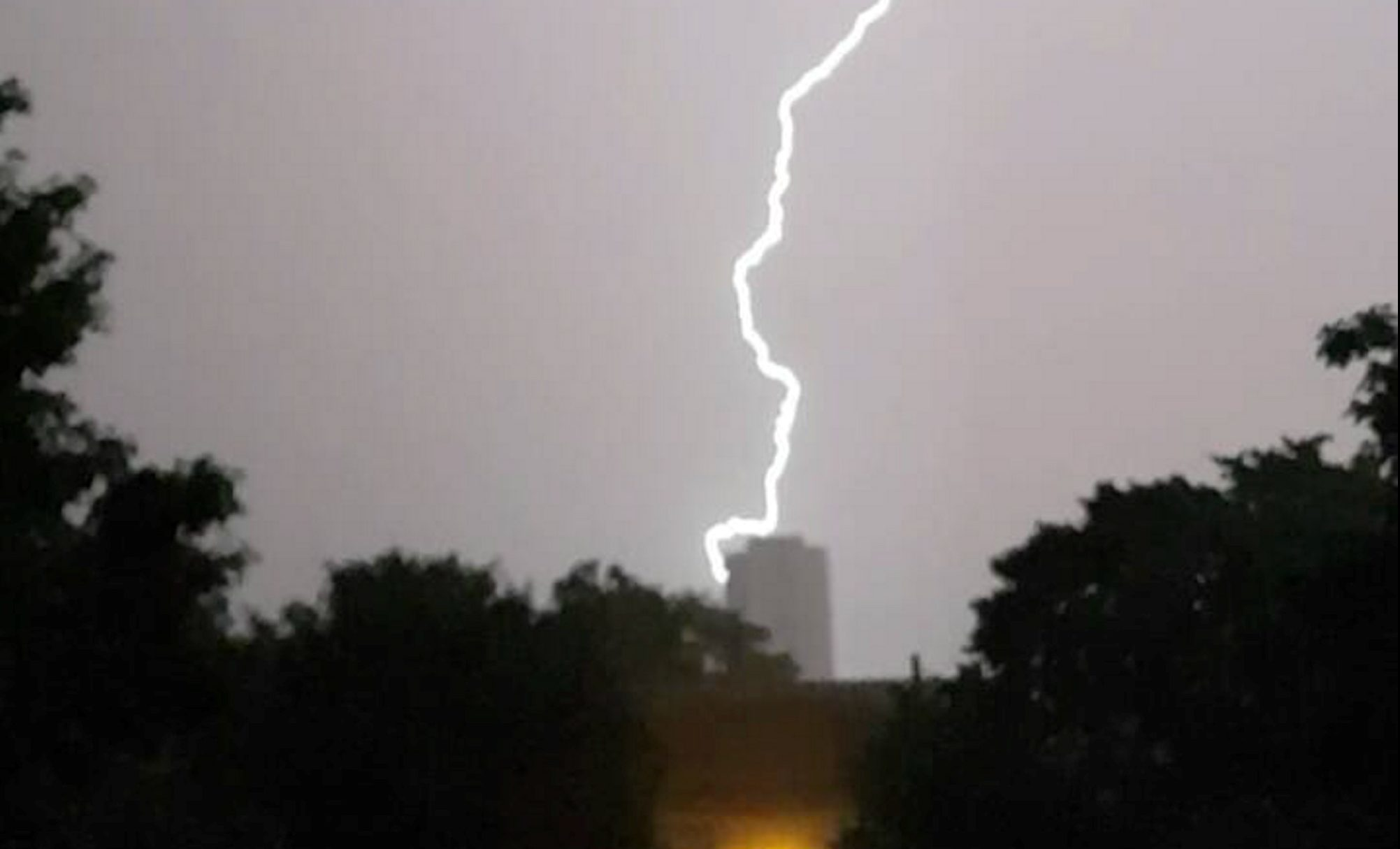 Craig Lawson captured this image of lightning striking one of the blocks of flats in Seaton.