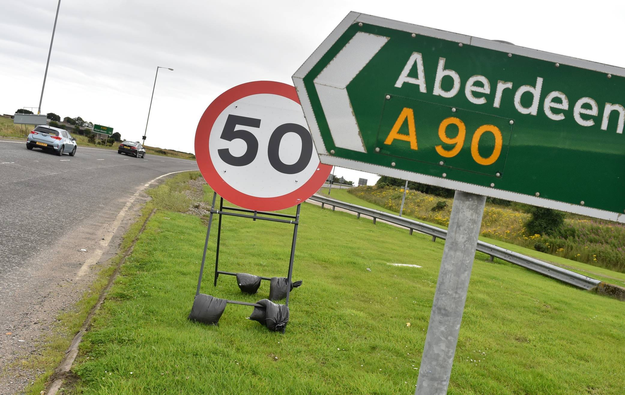 A 50mph has been implemented on the A90.