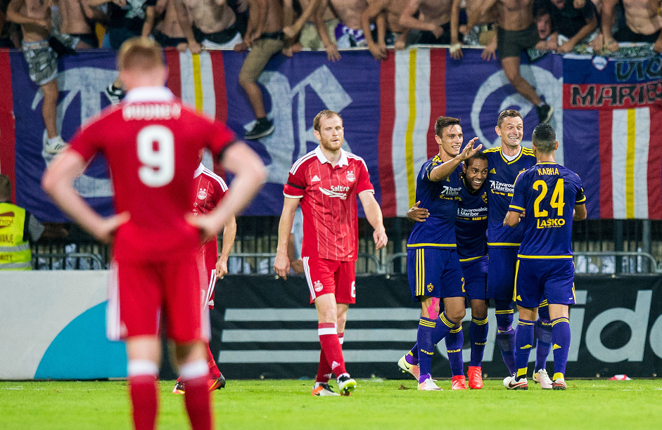 Aberdeen lost 2-1 on aggregate to Maribor.