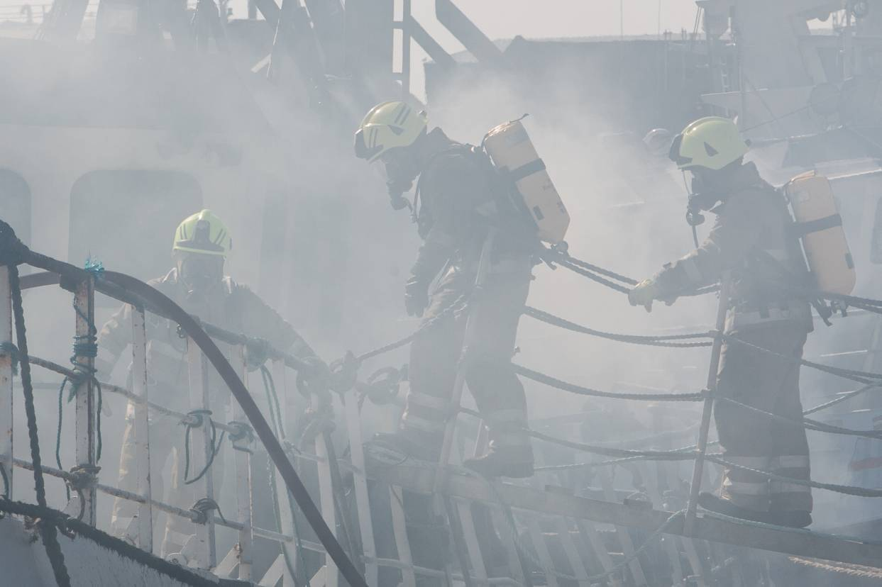 Firefighters are battling the blaze.