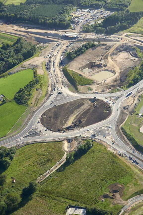 Aerial view of the of the Craibstone junction nearing completion as part of the AWPR.