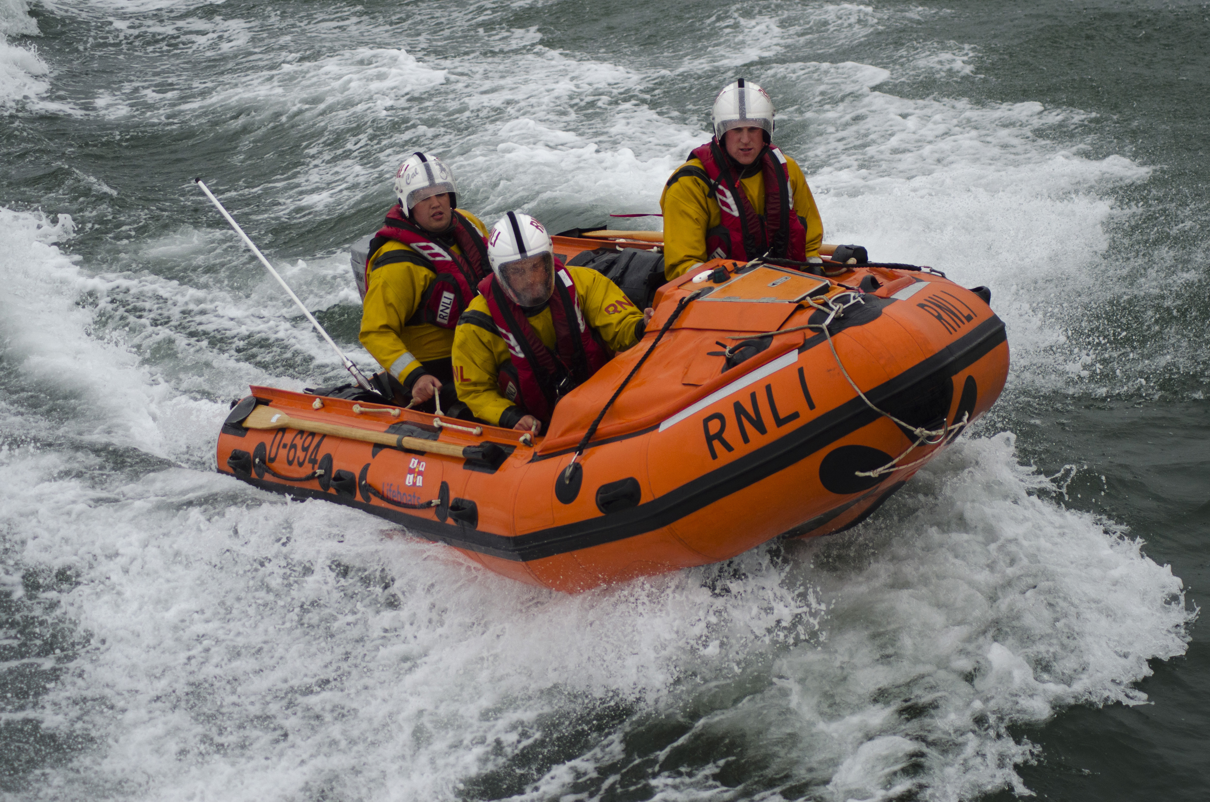 The Aberdeen RNLI team on the waves during a training exercise. Picture by Mark Gray.
