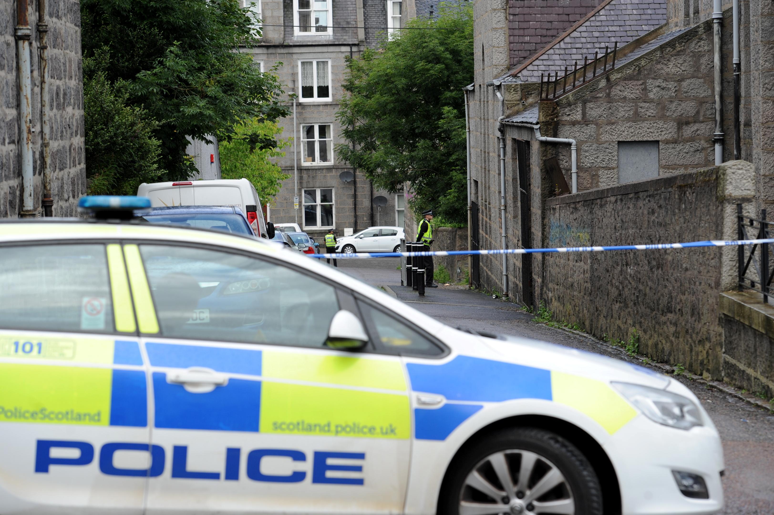 Police sealed off Grampian Lane in Torry