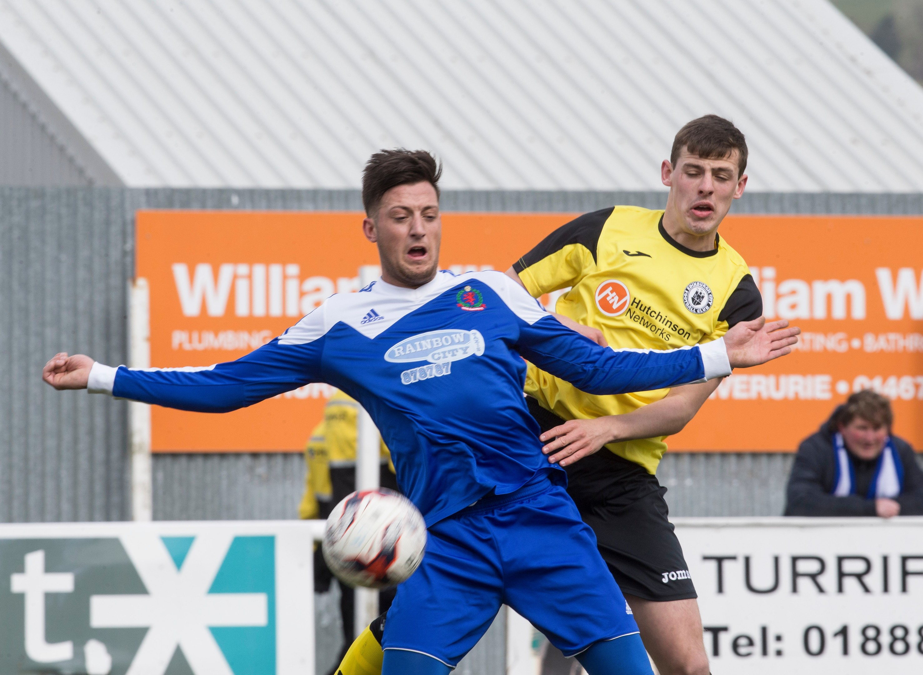 Cove's Connor Scully playing against Edinburgh City in the League Two play-off first leg.