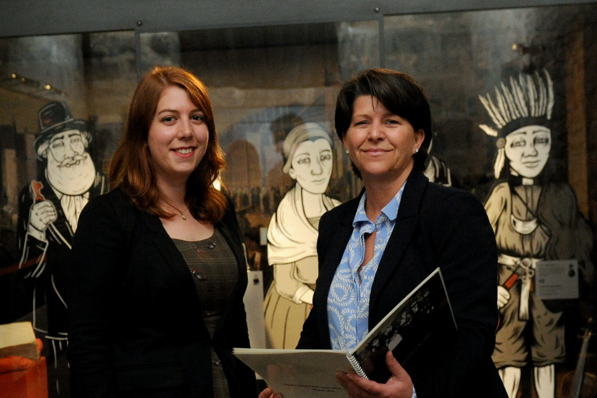 Stories:Curator Jenny Pape with Cllr Marie Boulton at the Tolbooth.